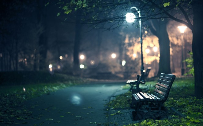 Park Bench At Night Desktop Wallpaper